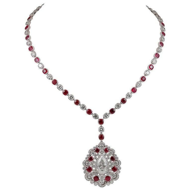 Diamond Ruby Platinum Long Necklace