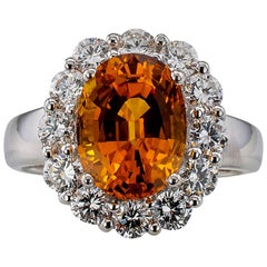 Orange Sapphire Diamond White Gold Ring