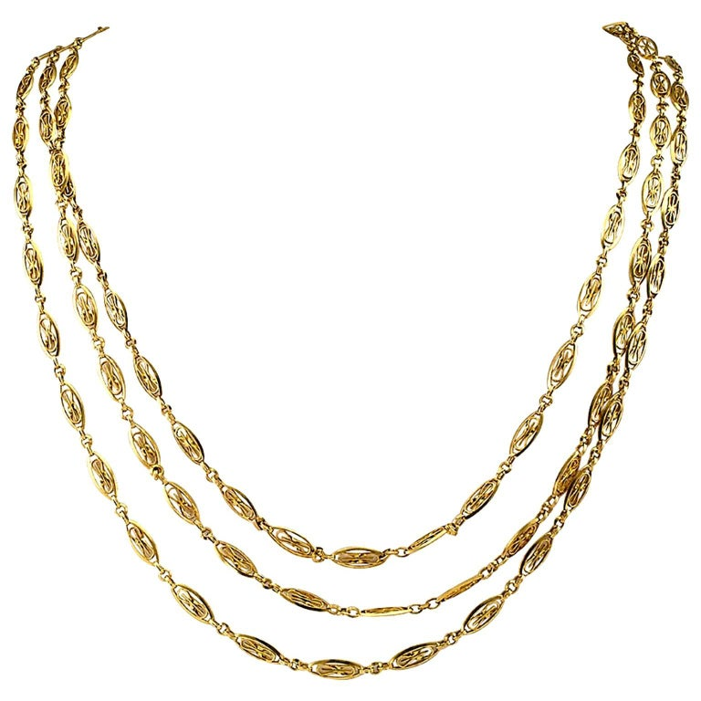 French Antique 1905 Long Chain Necklace