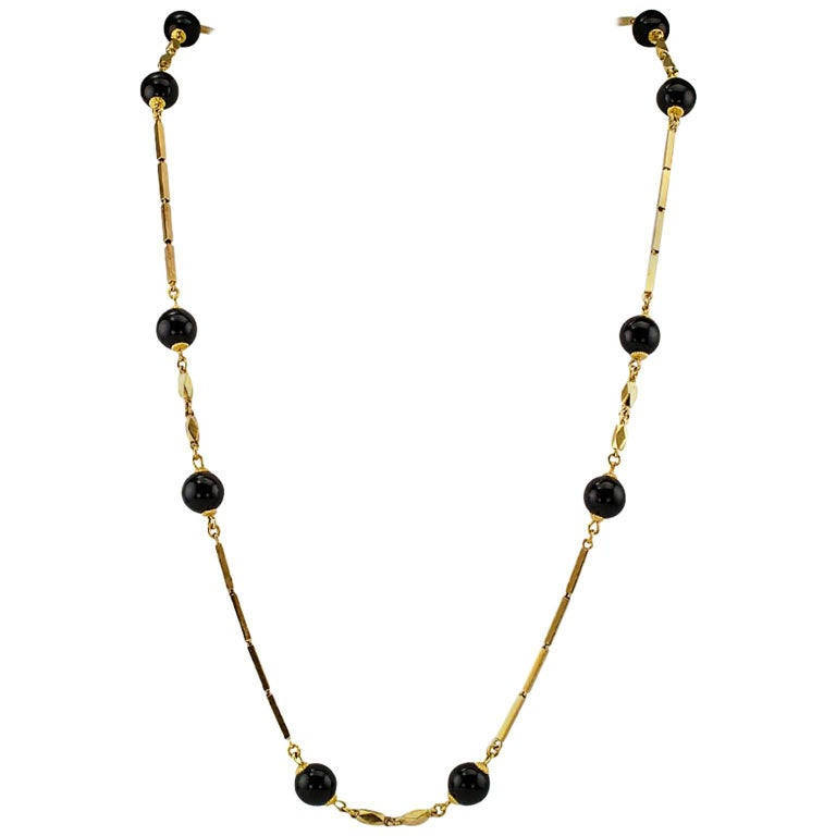 1960s Onyx Gold Chain Necklace
