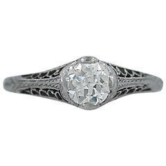 .55 Carat Diamond Antique Engagement Ring Platinum
