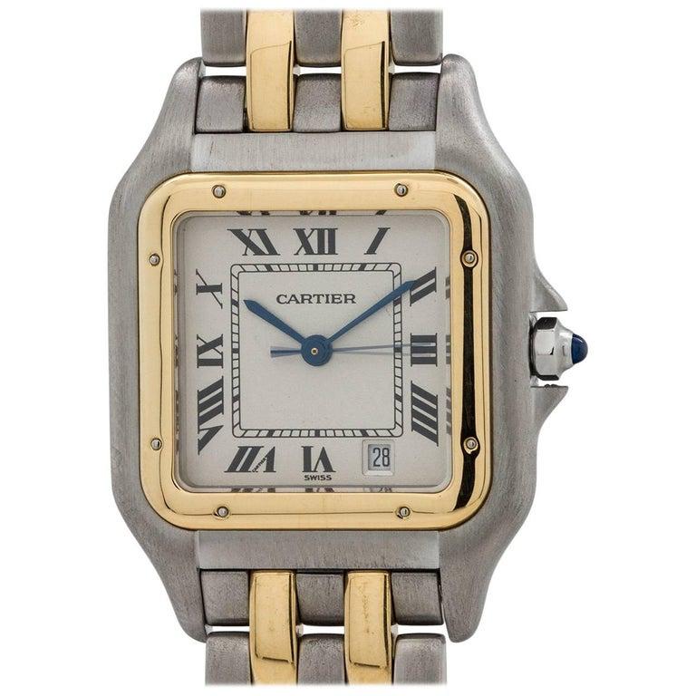 Cartier Yellow Gold Stainless Steel Panther Quartz Wristwatch, circa 1980s