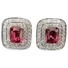 Cushion Spinel and Diamond Stud Earrings