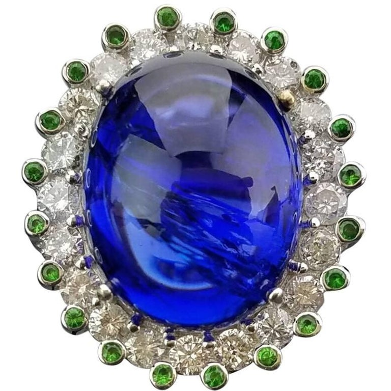 Tanzanite, Diamond and Tsavorite Cocktail Ring