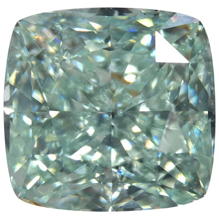 GIA Certified 2.04 Carat Fancy Blue Green VS2 Cushion Loose Diamond