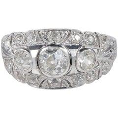 Transitional Edwardian Deco 2.20 Carat Diamond Trilogy Ring