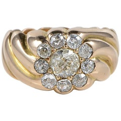 Victorian 1.50 Carat Antique Diamond Gent Cluster Ring