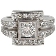 Art Deco 1.66 Carat G VVS Diamond Platinum Ring