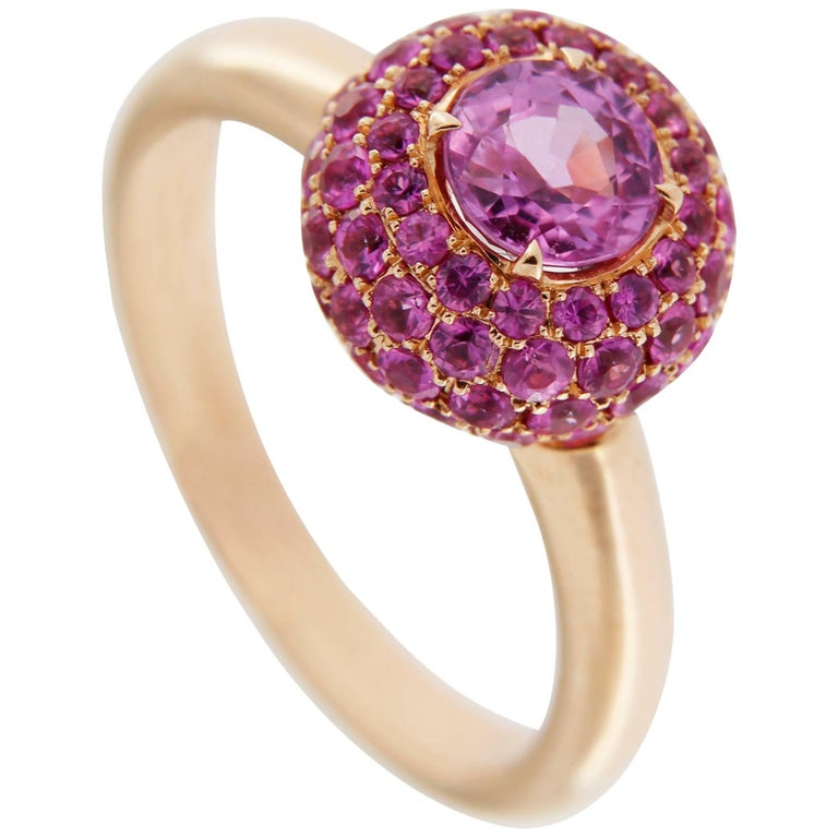 Jona Pink Sapphire 18 Karat Rose Gold Ring In New Condition For Sale In Torino, IT