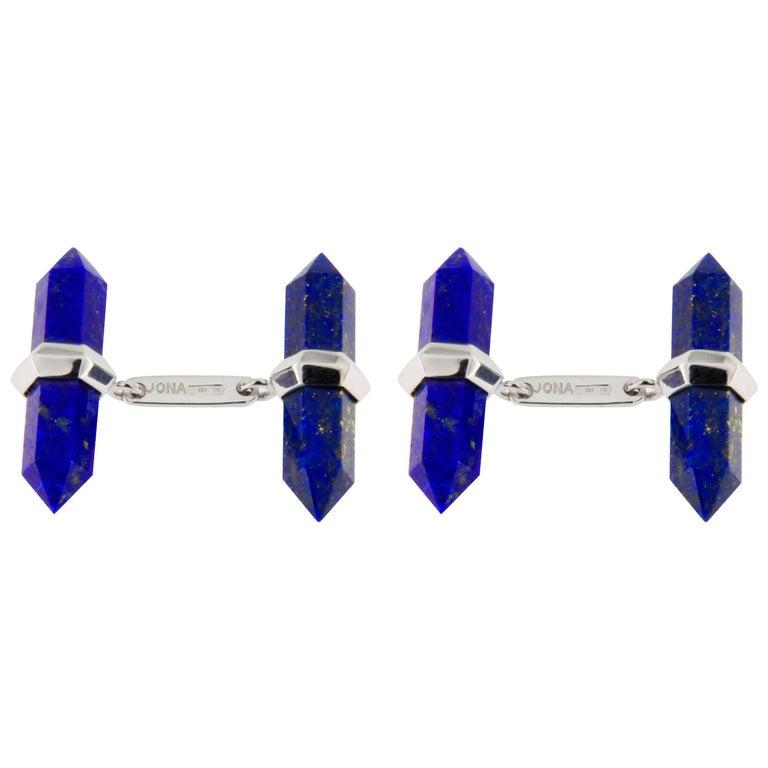 Jona Lapis Lazuli 18k White Gold Prism Bar Cufflinks