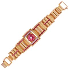 Retro Modern Ruby and Diamond Covered Bracelet Watch