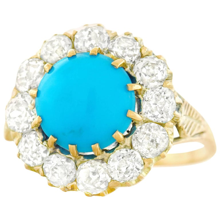 Antique Persian Turquoise and Diamond Ring in Gold For Sale