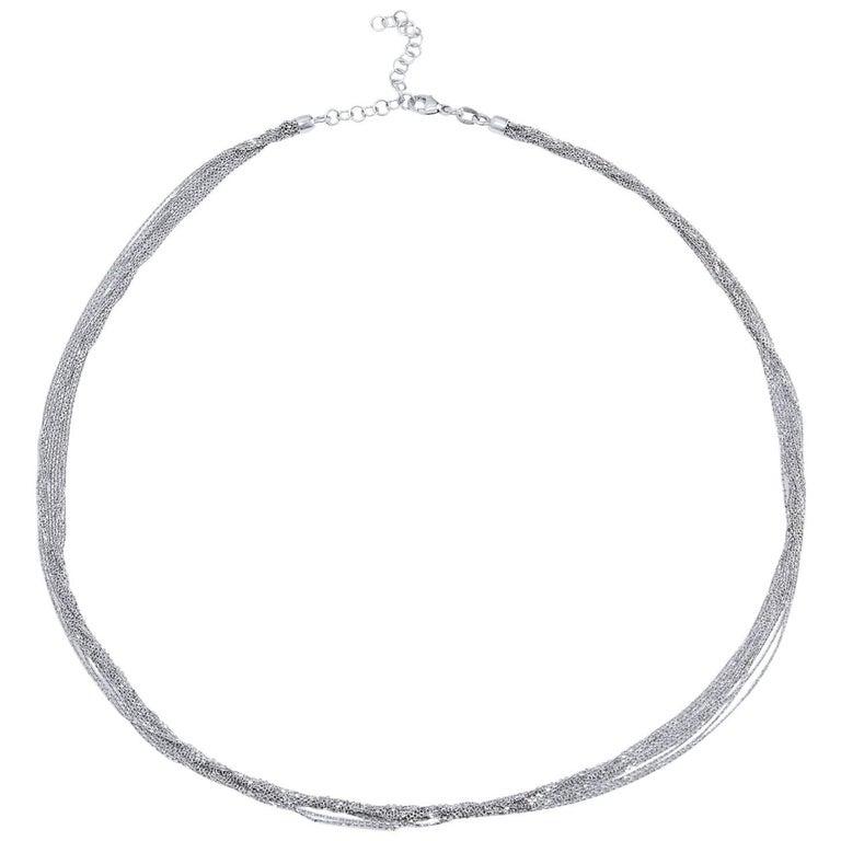18 Karat White Gold Ten-Strand Cable Link Chain