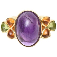 14 Karat Yellow Gold, Amethyst, Citrine and Peridot Cocktail Ring / SAT. SALE