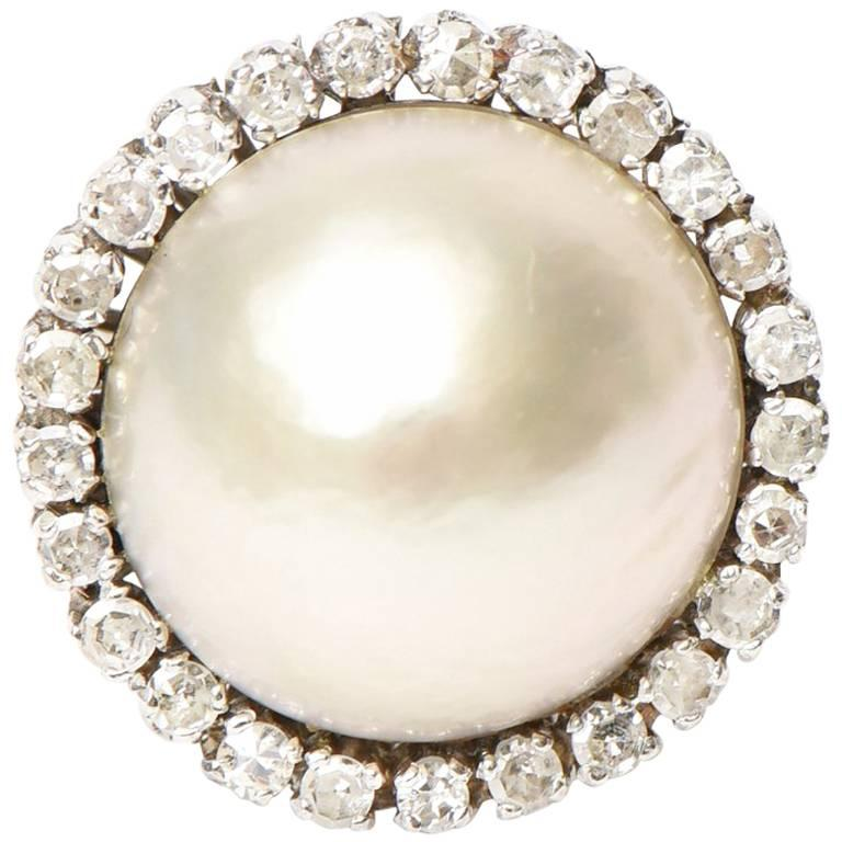Vintage Mabe Pearl, 14 Karat White Gold and Diamond Dome Cocktail Ring