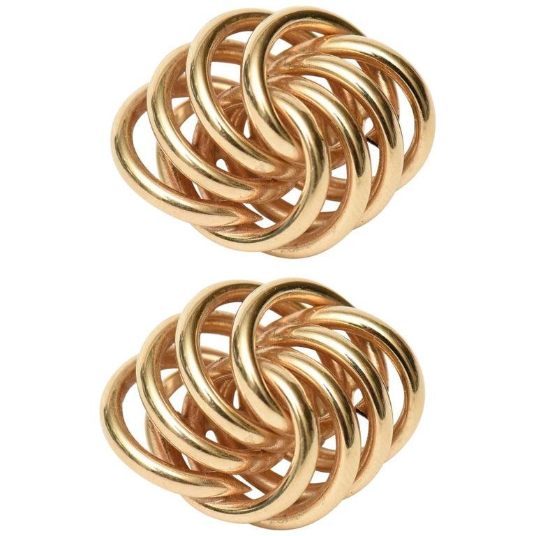 Pair of Sculptural Vintage 14 Karat Gold Pierced Lever Back Earrings