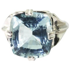 9.85 Carat Spectacular Glittering Blue Aquamarine Sterling Silver Party Ring