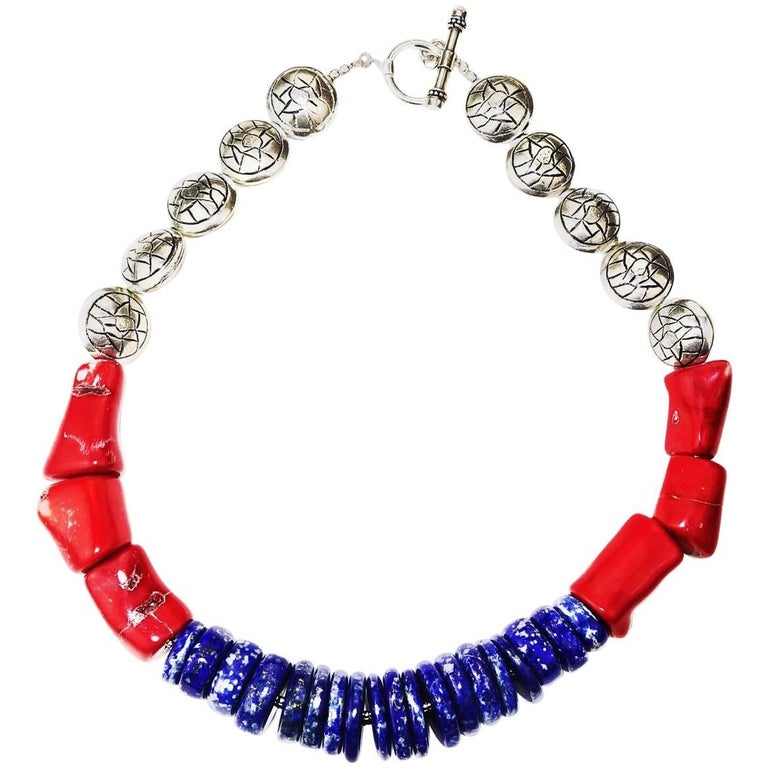 Stunning Lapis Lazuli, Coral and Silver Necklace