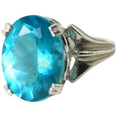 Rare 8.8 Carat Madagascar Apatite Sterling Silver Dinner Ring