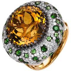 Carlos Udozzo 18 Karat White Gold Yellow Citrine Green Tsavorite Cocktail Ring