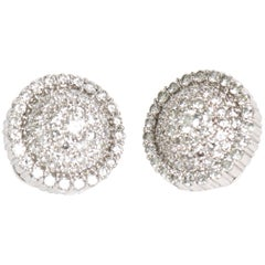 Pair of Italian Diamond & 18 Karat Gold Pierced Lever Back Earrings