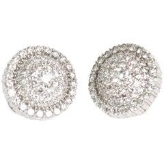 Pair of Italian Diamond & 18 Karat Gold Pierced Lever Back Earrings / SAT. SALE
