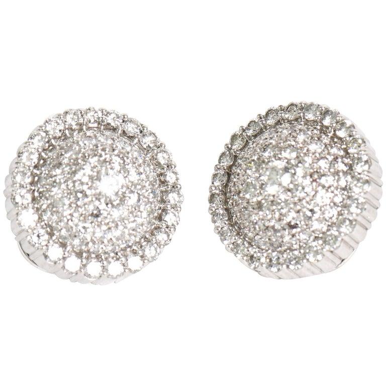 Pair of Italian Diamond & 18 Karat Gold Pierced Lever Back Earrings