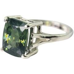 Gemjunky Elegant Natural 7 Ct Rare Sparkling Sri Lankan Green Zircon Silver Ring