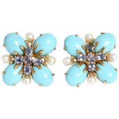 Pair of Italian Custom Turquoise, Pearl and Sapphire Clip/Pierced Earrings
