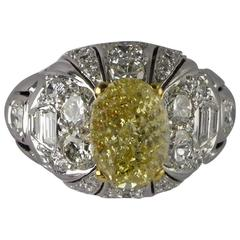 Certified Fancy Yellow Diamond 2.11 Carat Gold Bombe Ring, circa 1960