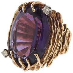 1970s Amethyst Diamond Gold Ring
