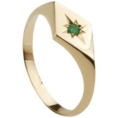 Ellie Air Kite Emerald Gold Signet Ring