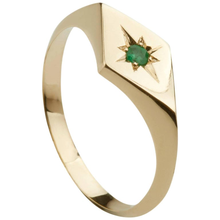 ellie air kite emerald gold signet ring for sale at 1stdibs