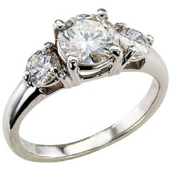 0.96 Carat Center Diamond Three-Stone Engagement Ring