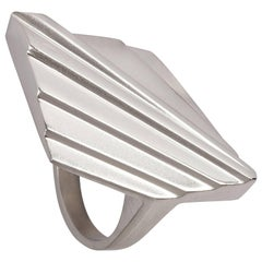 Emer Roberts Solid Silver Bold Deco Ring
