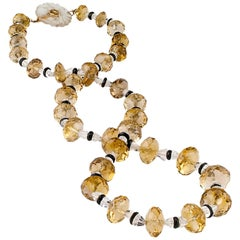 Art Deco 1925 Citrine Rock Crystal Onyx Bead Necklace