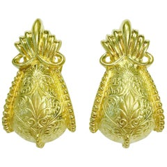 Cynthia Bach Stylized Door Knocker Yellow Gold Earrings