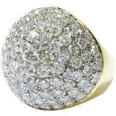 Midcentury Diamond Large Bombe Dome Ring