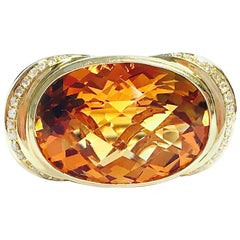 15 Carat Citrine and Diamond Yellow Gold Cocktail Ring