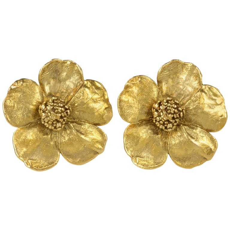 1970s Claude Lalanne Gold Flower Ear Clips