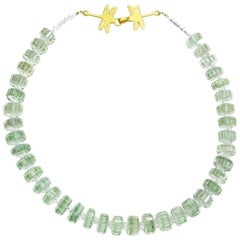 Fancy Cut Prasiolite Necklace with Vermeil Dragonfly Clasp