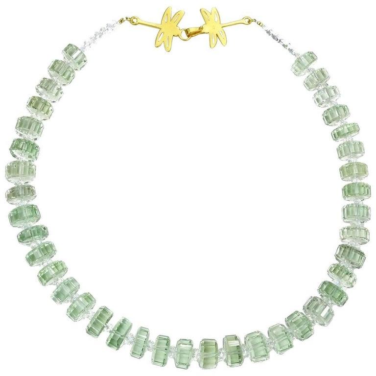 Fancy Cut Prasiolite Necklace with Vermeil Dragonfly Clasp