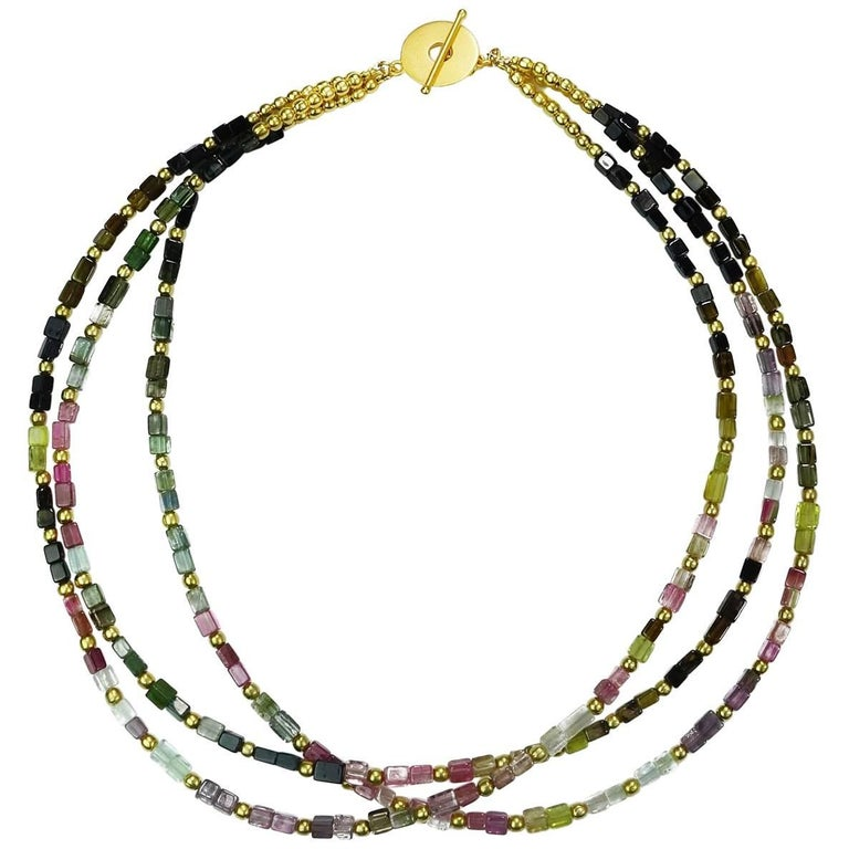 Delicate Three Strands of Tourmaline Necklace Accented with Gold