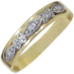 Antique 18 Carat Gold Wedding Band with Raised Scrolling Design, circa 1930