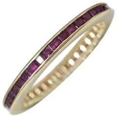 Vintage Yellow Gold Eternity Ring, Featuring Princess Cut Rubies