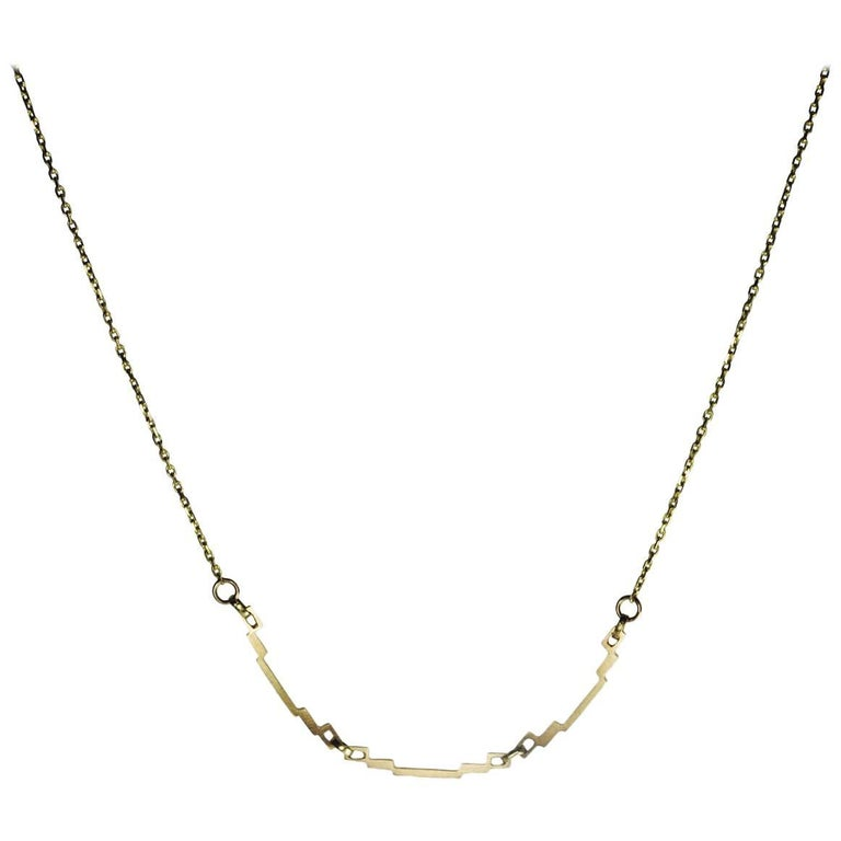 Emer Roberts Three Links Gold Art Deco Necklace