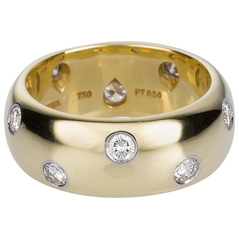 Tiffany & Co. 18 Karat Yellow Gold Platinum and Diamond Etoile Wide Band Ring For Sale