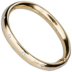 Tiffany & Co. Etoile Diamond Yellow Gold  and Platinum Bangle Bracelet