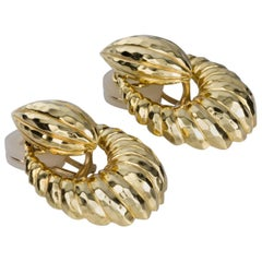 Henry Dunay Hammered 18 Karat Yellow Gold Door-Knocker Drop Earrings