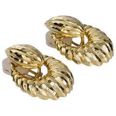 Henry Dunay Hammered 18 Karat Yellow Gold Door-Knocker Drop Earrings
